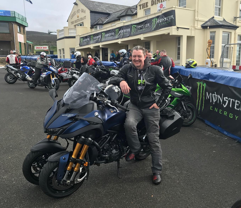 The Yamaha Niken GT at the Creg Ny Baa on the Isle of Man