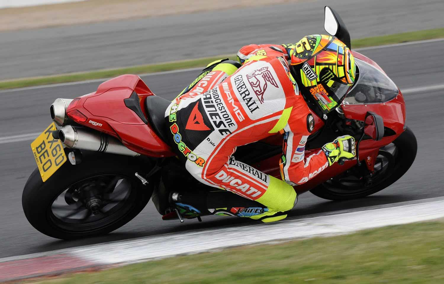 Ducati 1198 in action at the hands of Valentino Rossi