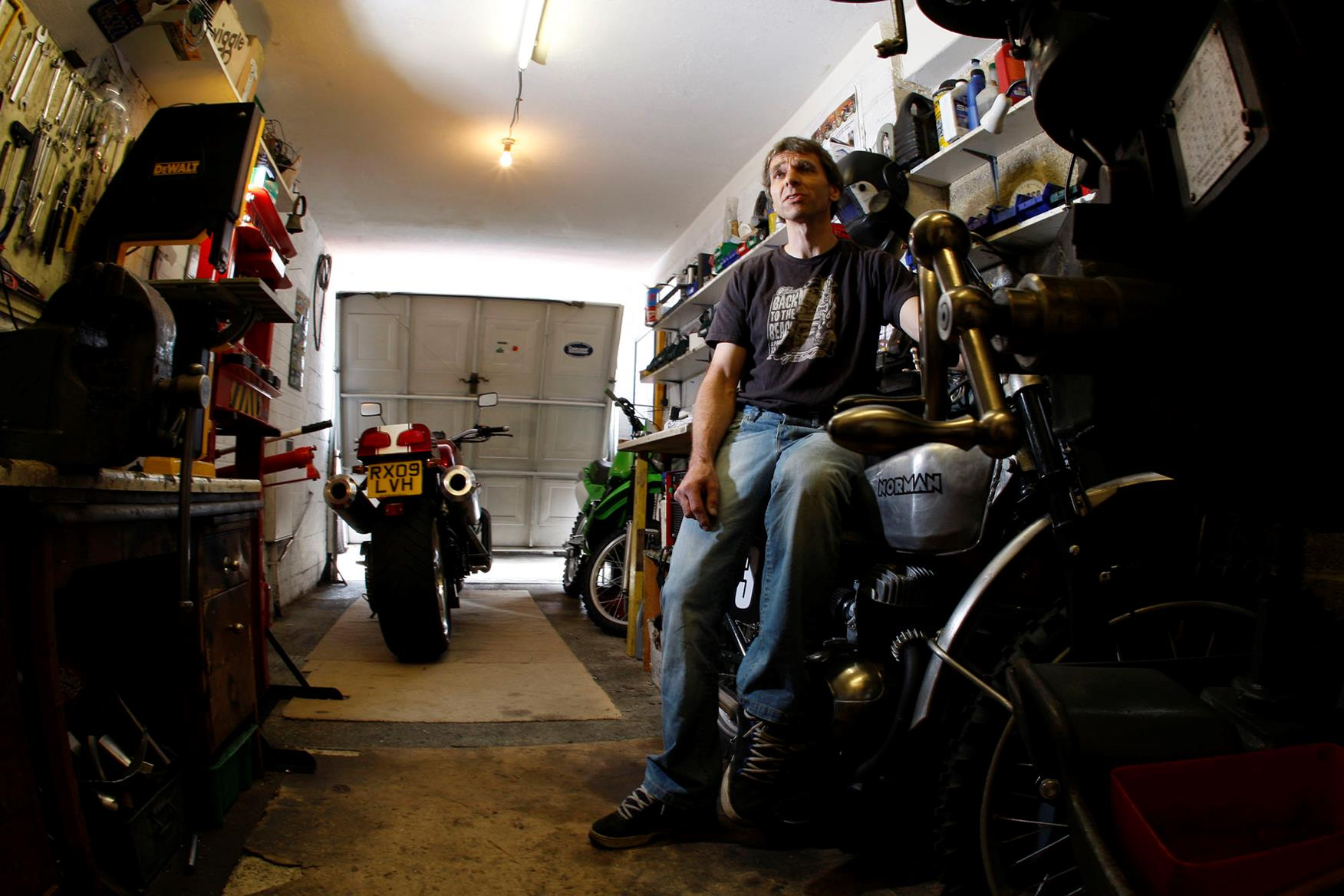 Allen Millyard in his single garage workshop