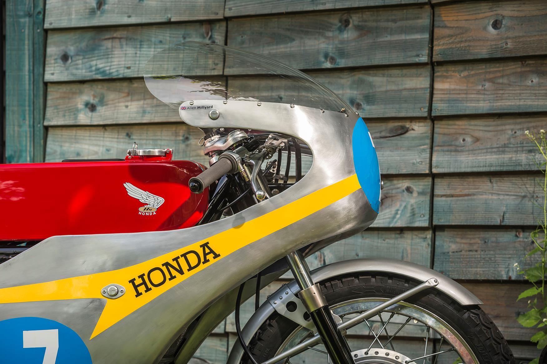 The hand-beaten fairing on Allen Millyard's Honda Six