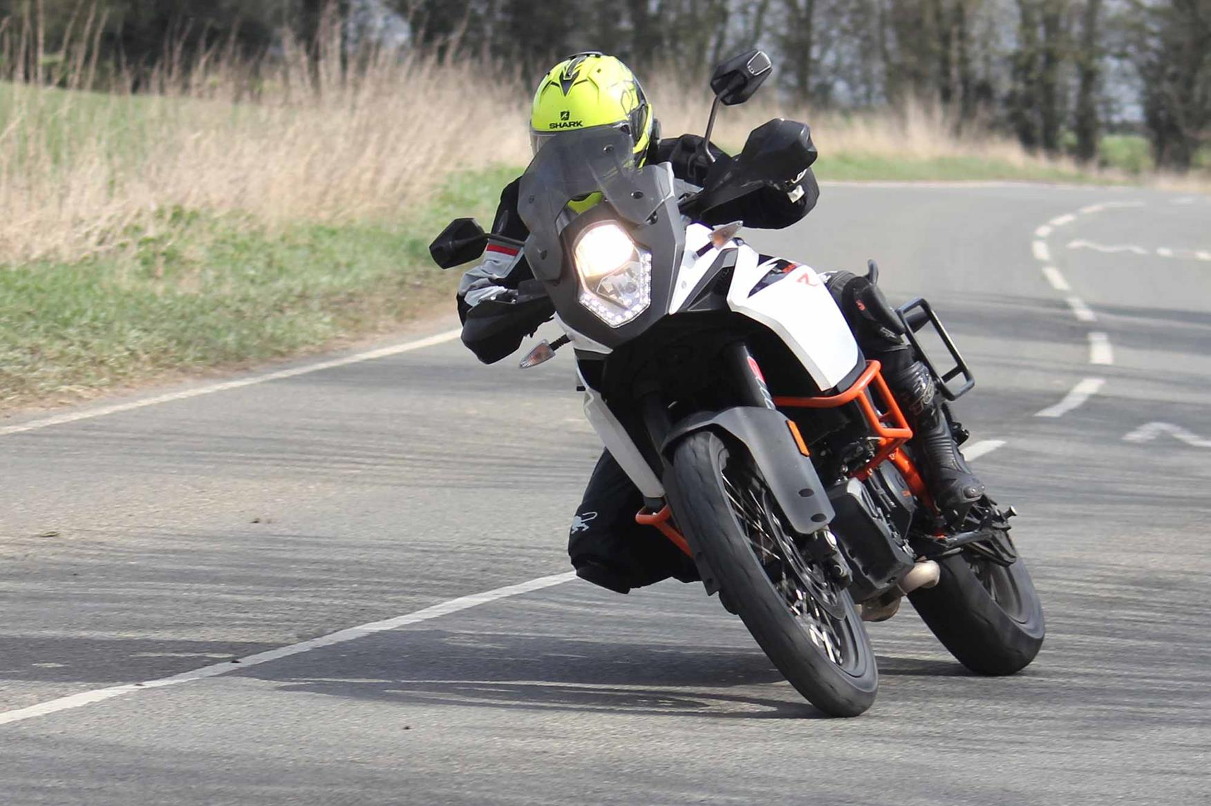 Testing the grip on a KTM 1090 Adventure