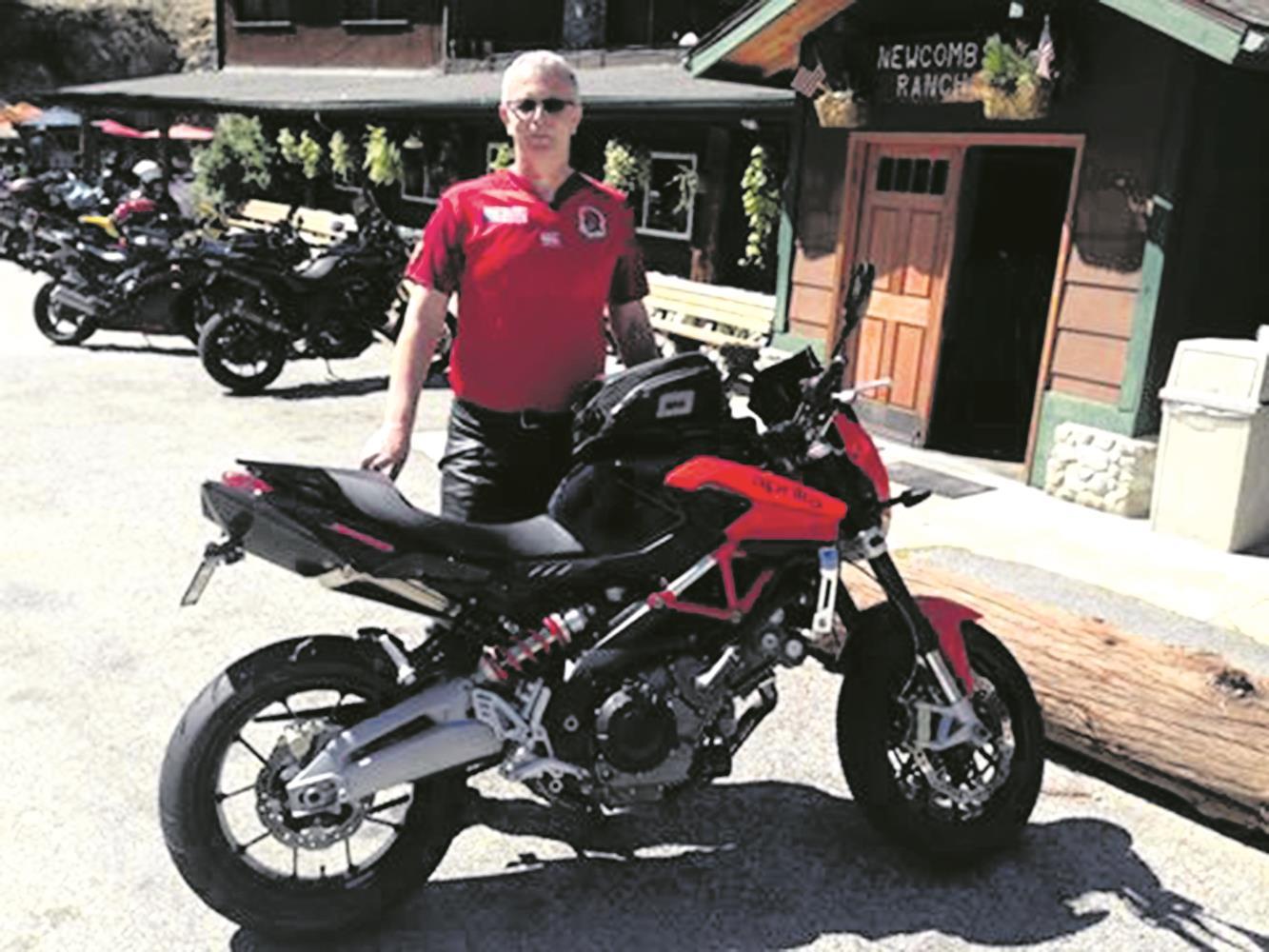 Malcolm with his Aprilia Shiver 750