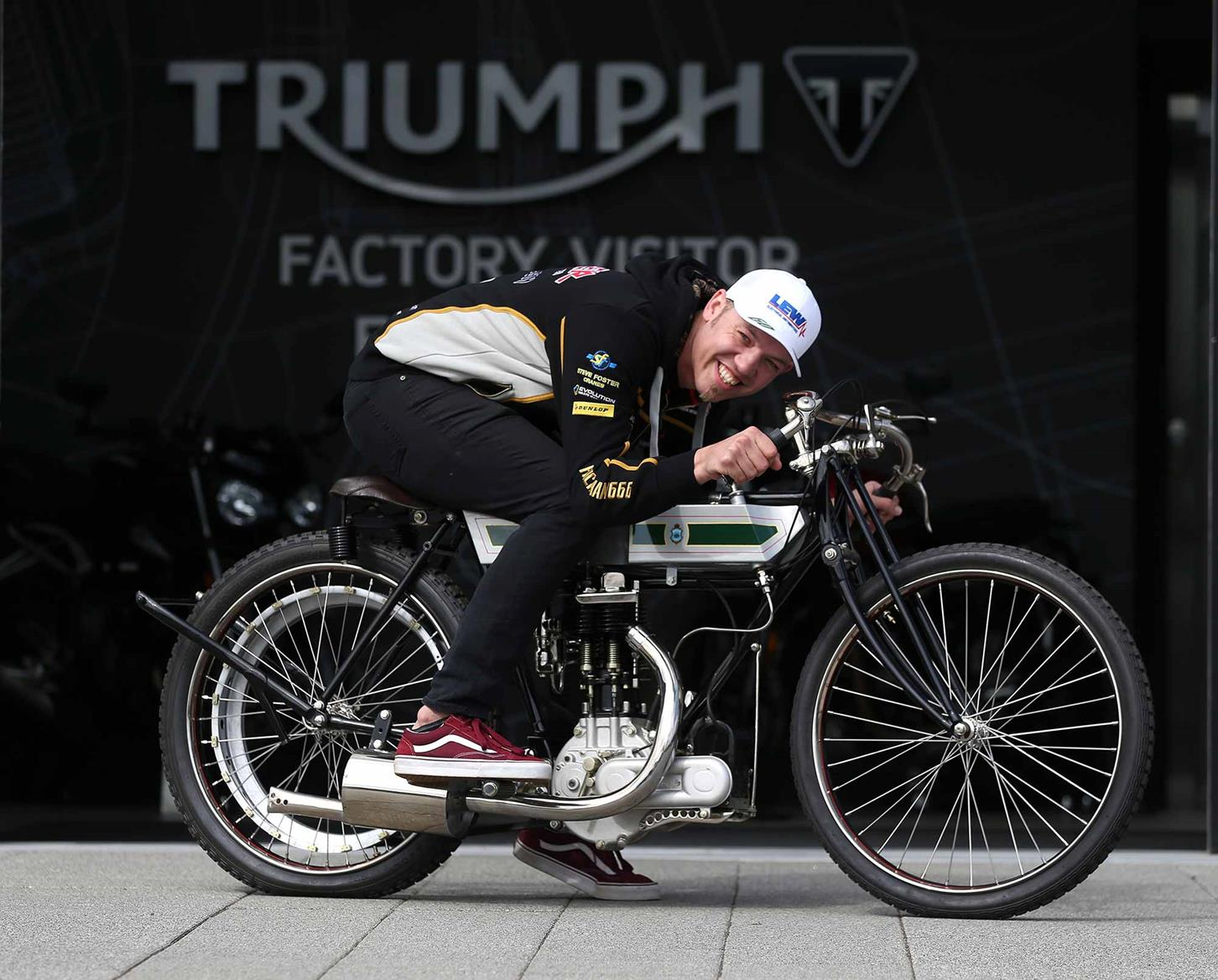 Hickman aboard a 1909 TT-racing Triumph