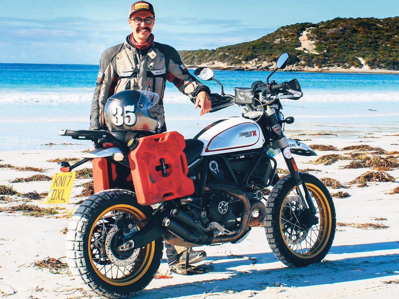 Henry Crew on his Ducati Scrambler Desert Sled