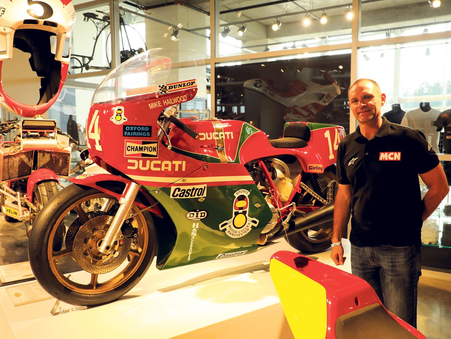 Michael Neeves alongside Mike Hailwood's TT NCR Ducati