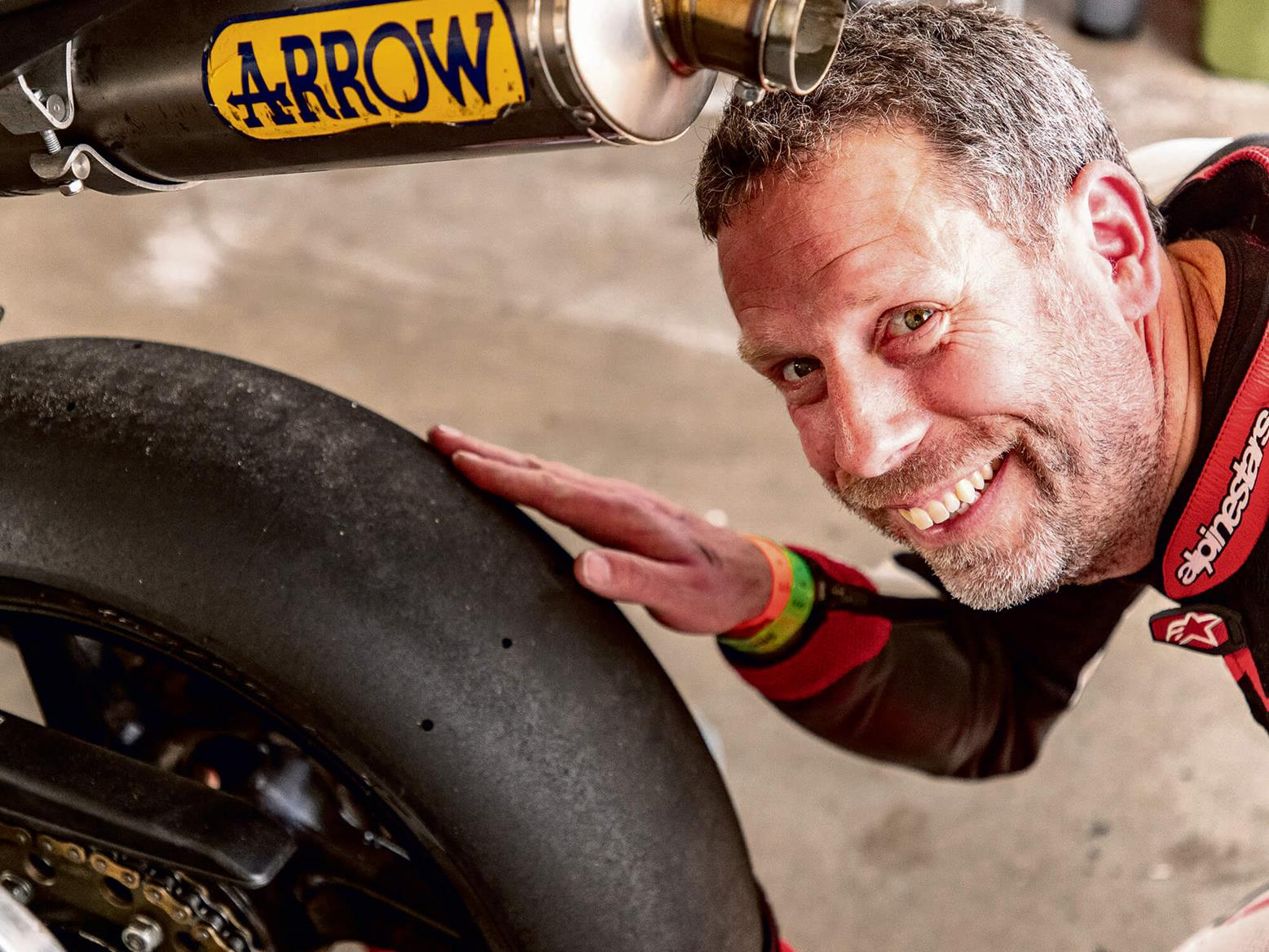 Jon Urry with rear slick tyre
