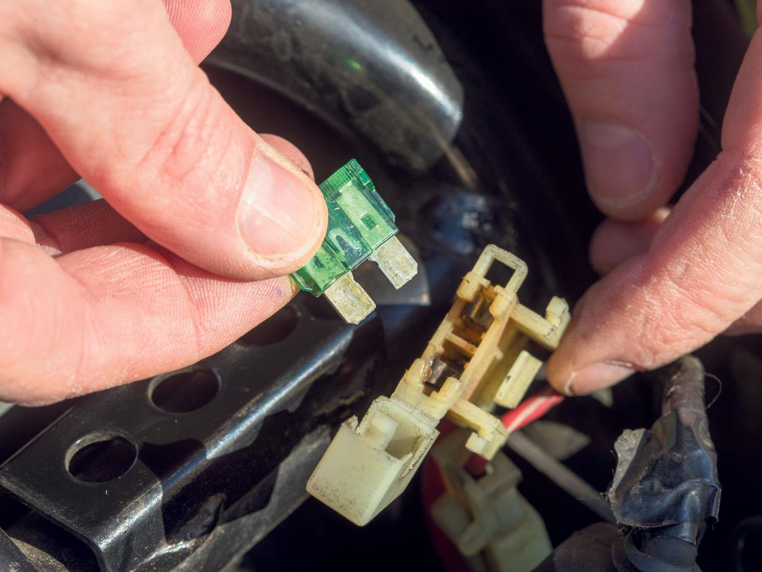 Inspect the bike's fuses