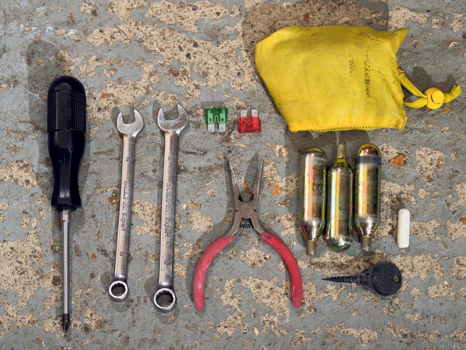 Tools are very handy when repairing your bike on the move