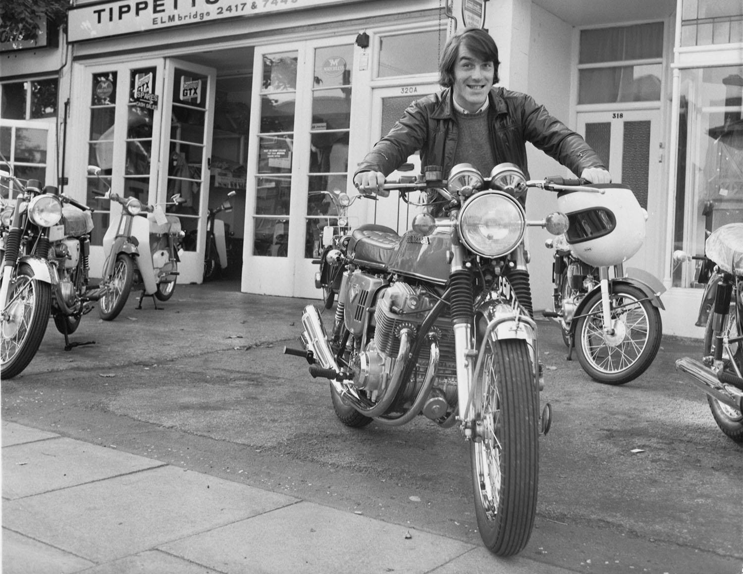 The Earl of Denbigh with 'the Brighton bike' Honda CB750