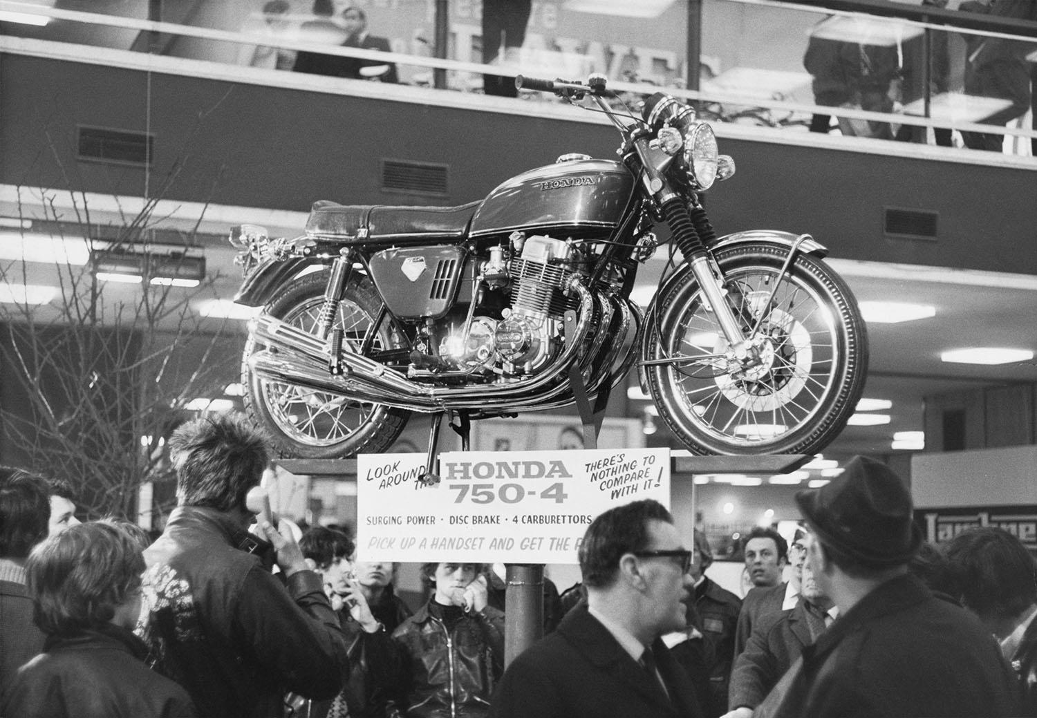 Honda CB750 on display in 1969