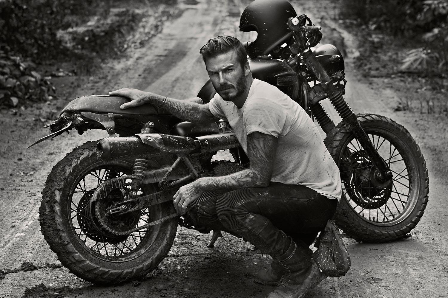 David Beckham with Triumph Scrambler in Brazil