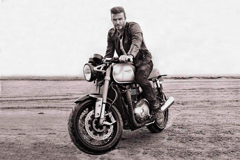 David Beckham astride a Triumph Thruxton R