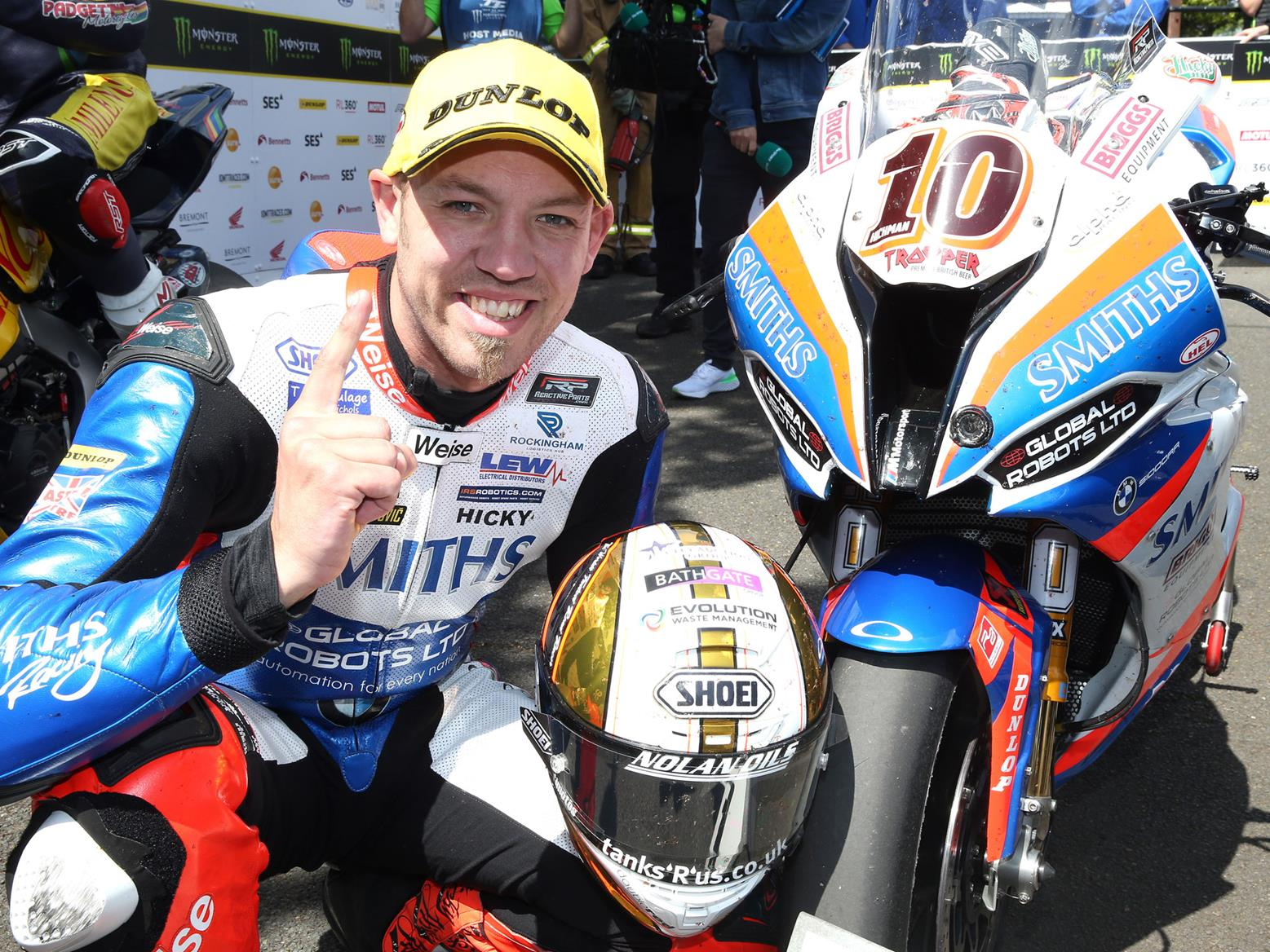 Peter Hickman wins the Superbike race at the Isle of Man TT