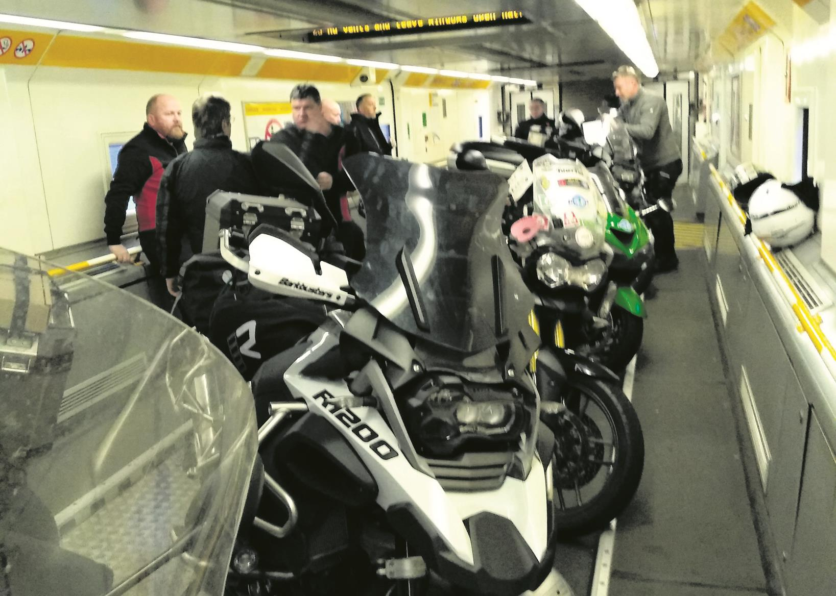 Iron Butt competitors in the Channel Tunnel