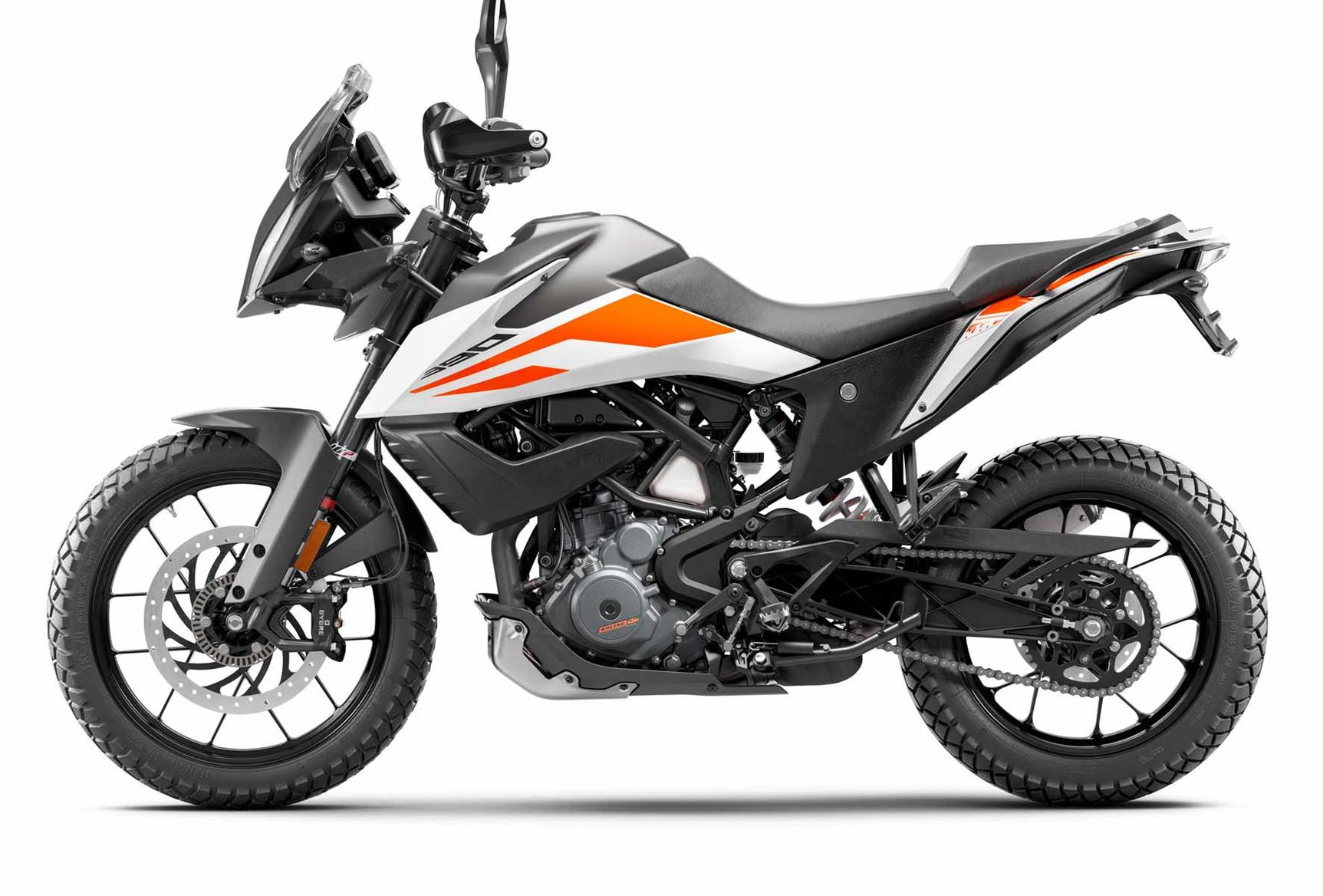 A side view of the KTM 390 Adventure