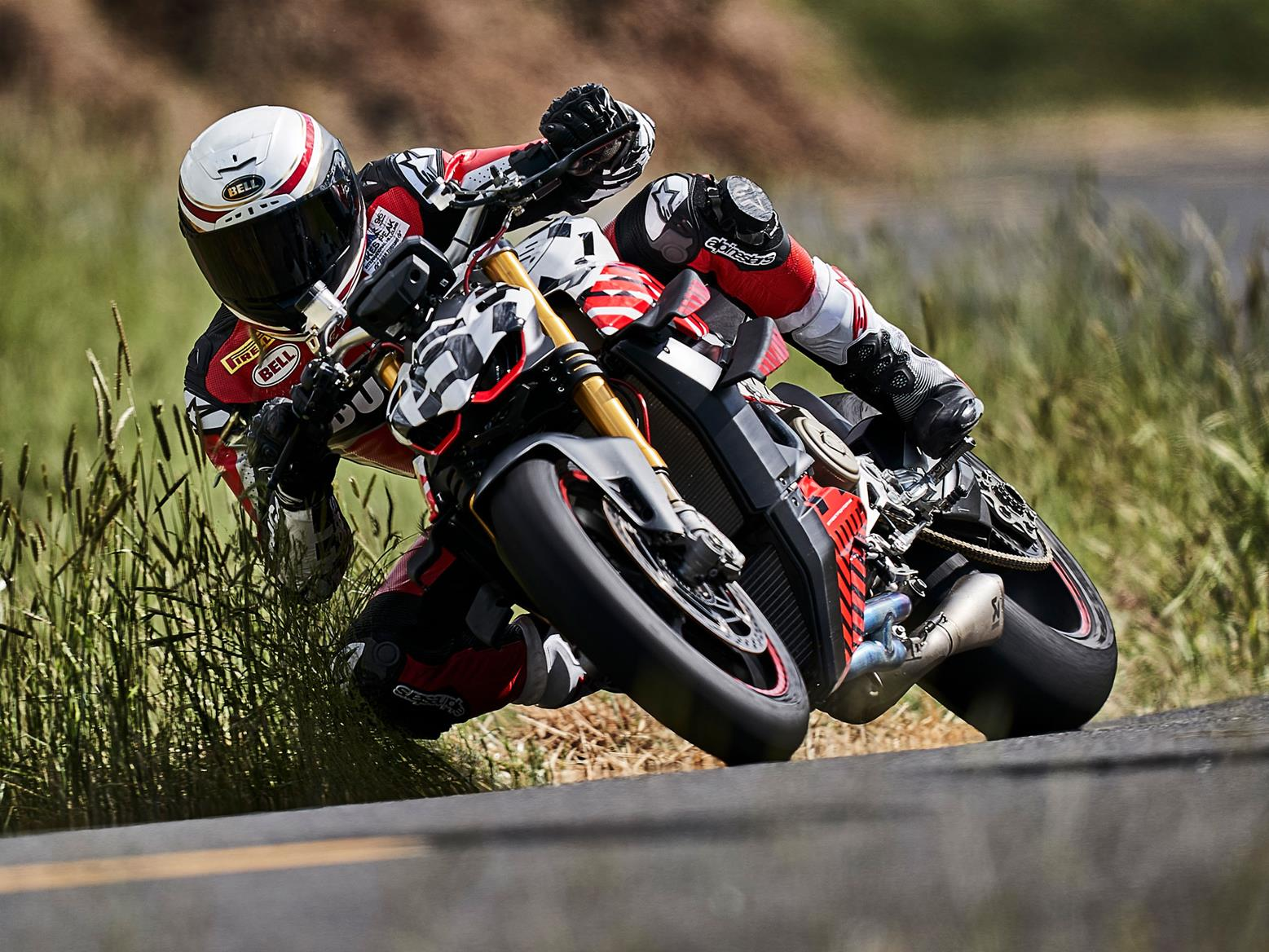 The Ducati Streetfighter V4 prototype in action