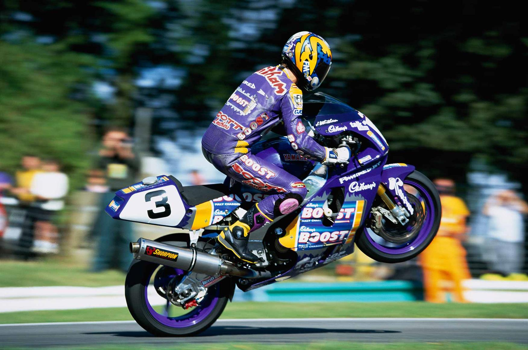 James Whitham jumps the mountain at Cadwell Park in 1996