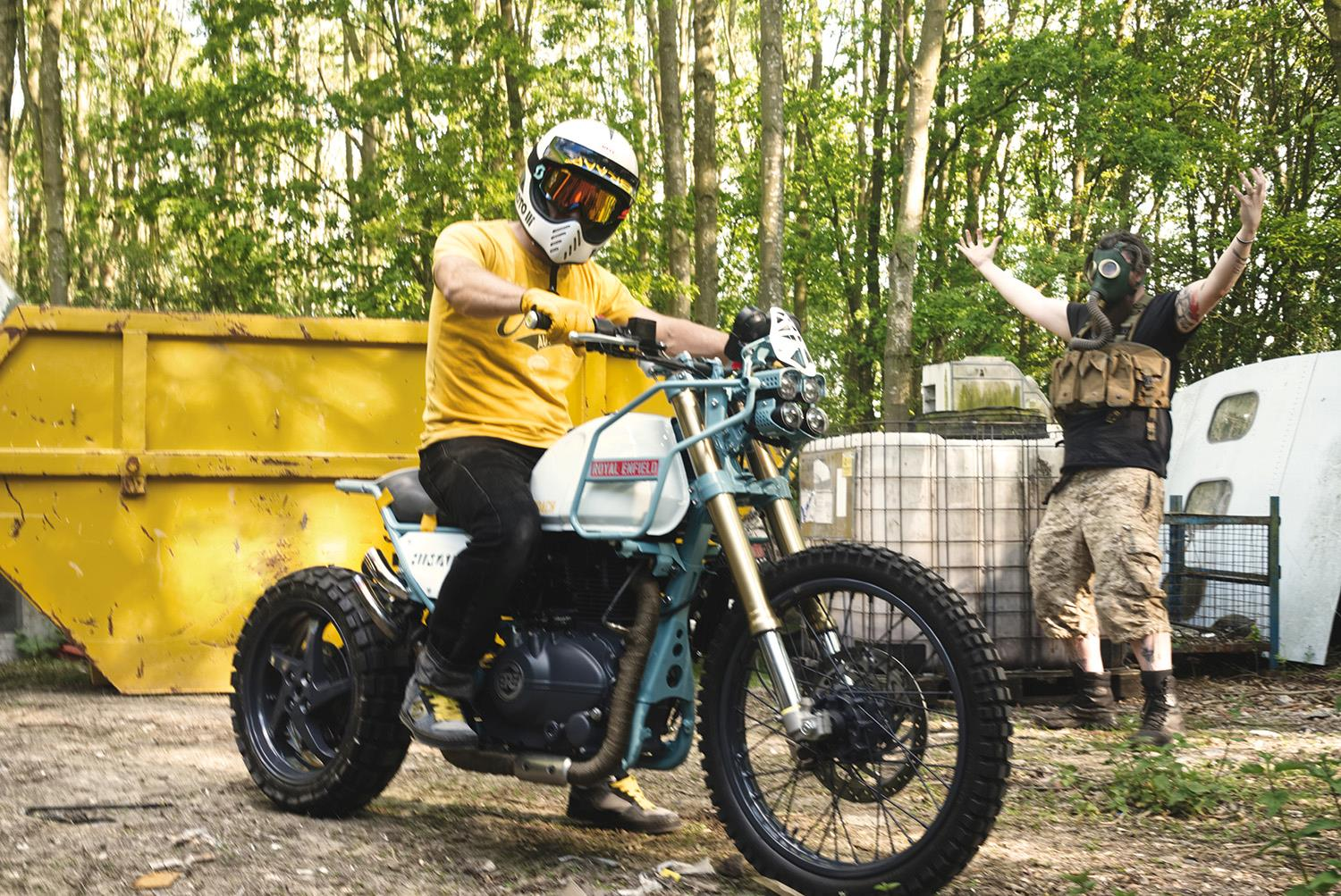 MJR Roach Royal Enfield Himalayan with passer-by and skip