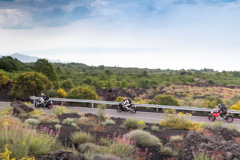 BMW S1000RR, Ducati Panigale V4 S and Aprilia RSV4 1100 in Sicily