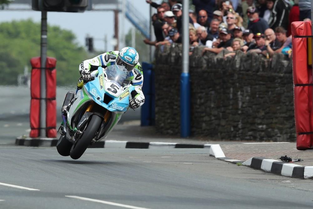 Dean Harrison gets air at the Isle of Man TT