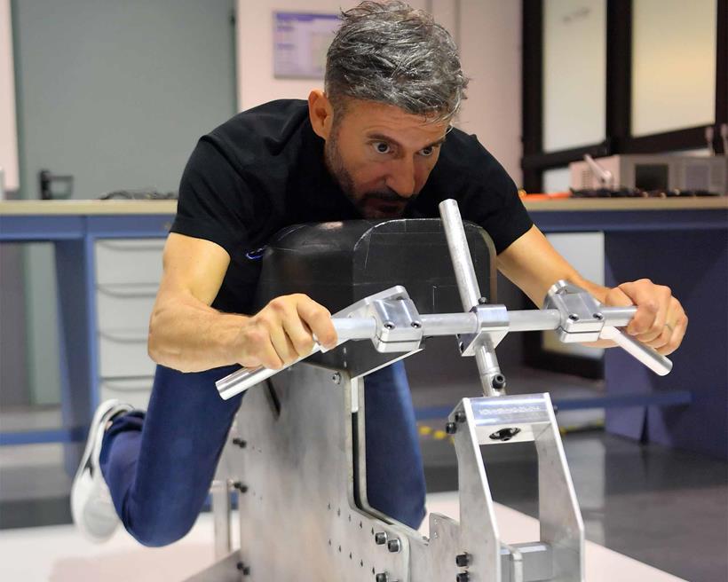 Max Biaggi gets measured up. Photo: Charly Gallo