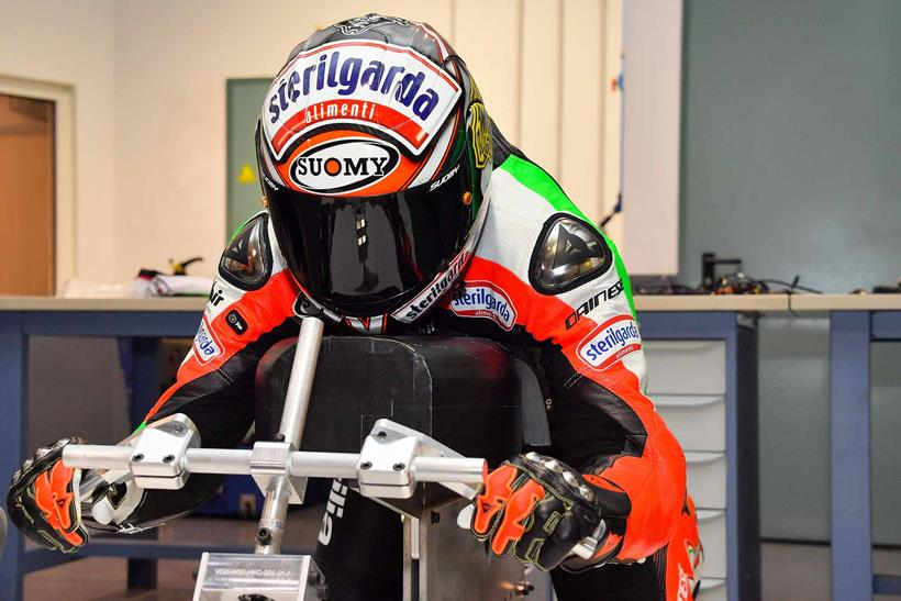Max Biaggi gets measured up in leathers. Photo: Charly Gallo