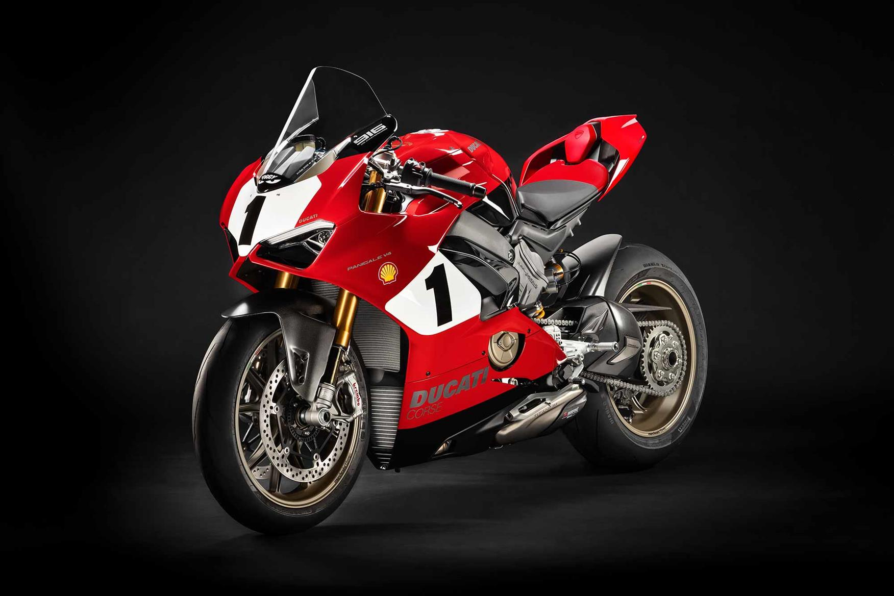 The bike pays tribute to the 1999 Ducati 996 WSB bike