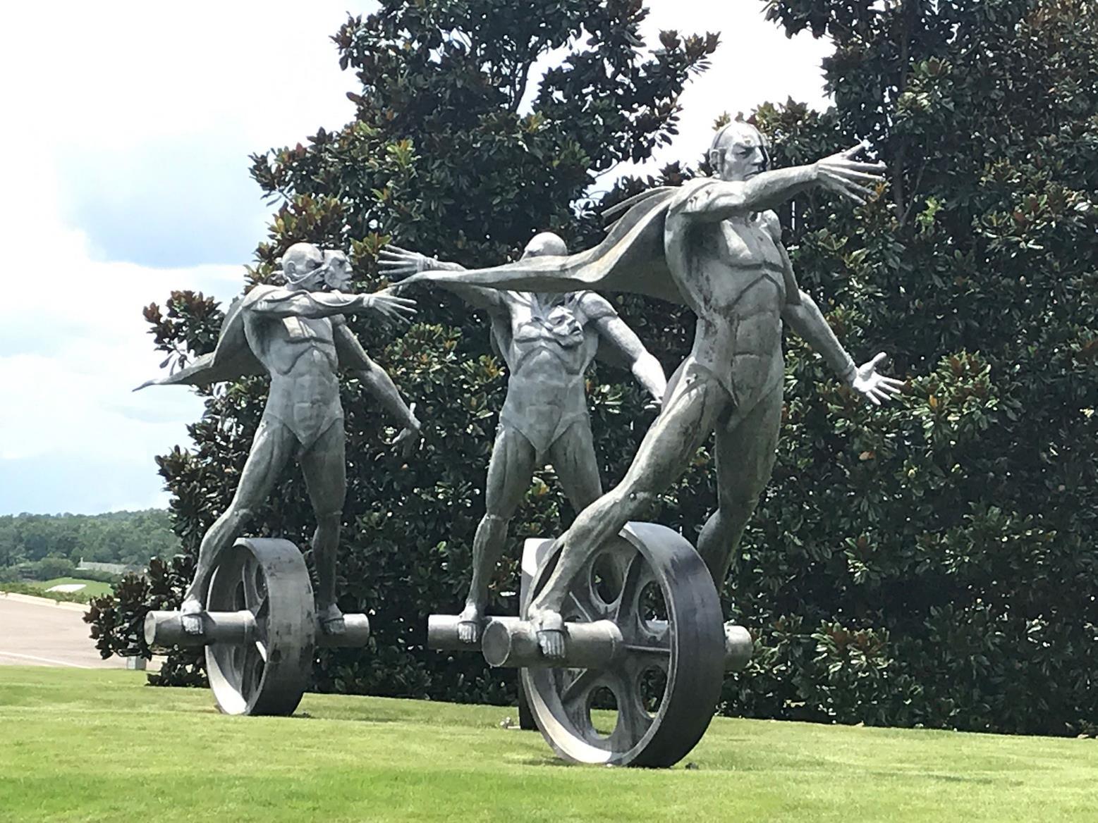 Crazy statue outside Barber Vintage Motorsport Museum
