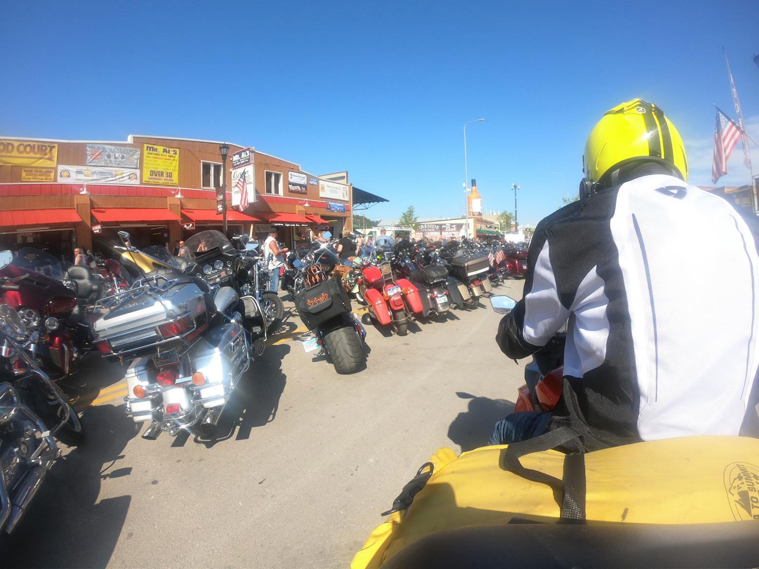 The bikes on Sturgis Main Street were almost all American and almost all Harleys