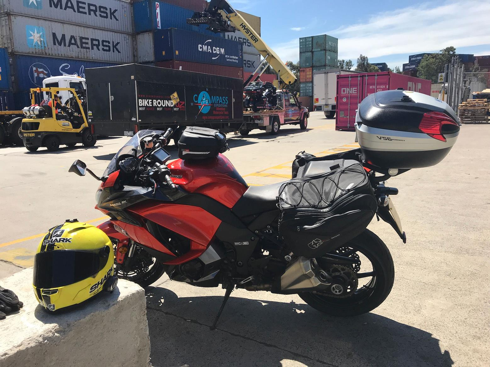 Simon Weir collecting his Kawasaki Z1000SX from the docks