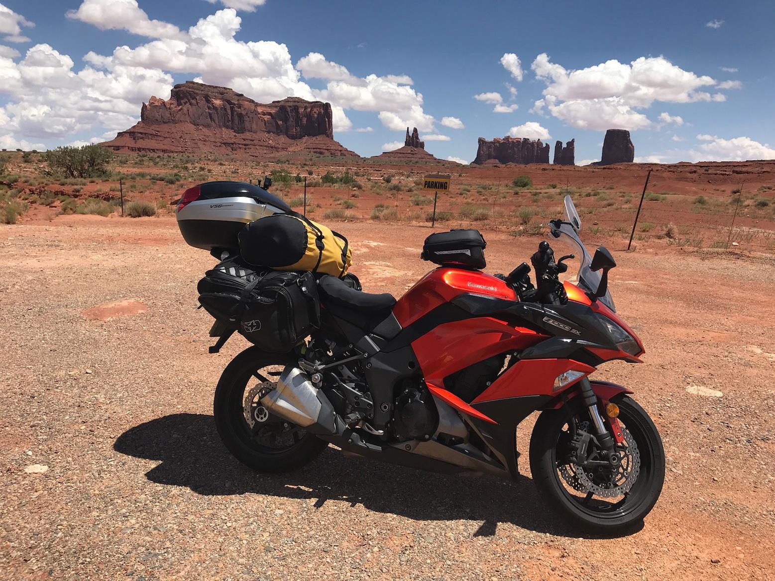 The Kawasaki Z1000SX at Monument Valley