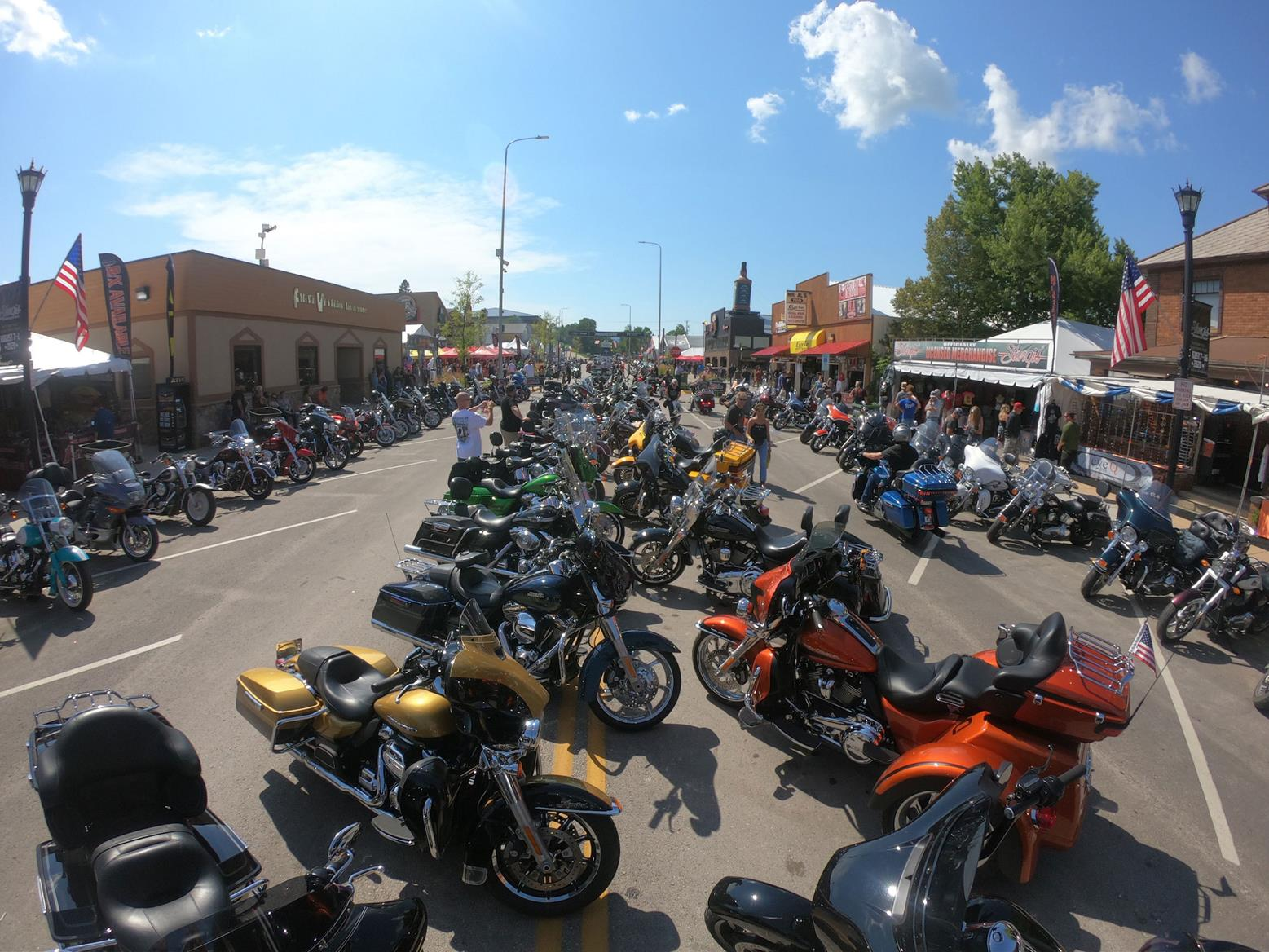 Sturgis Main Street was packed fully of Harleys