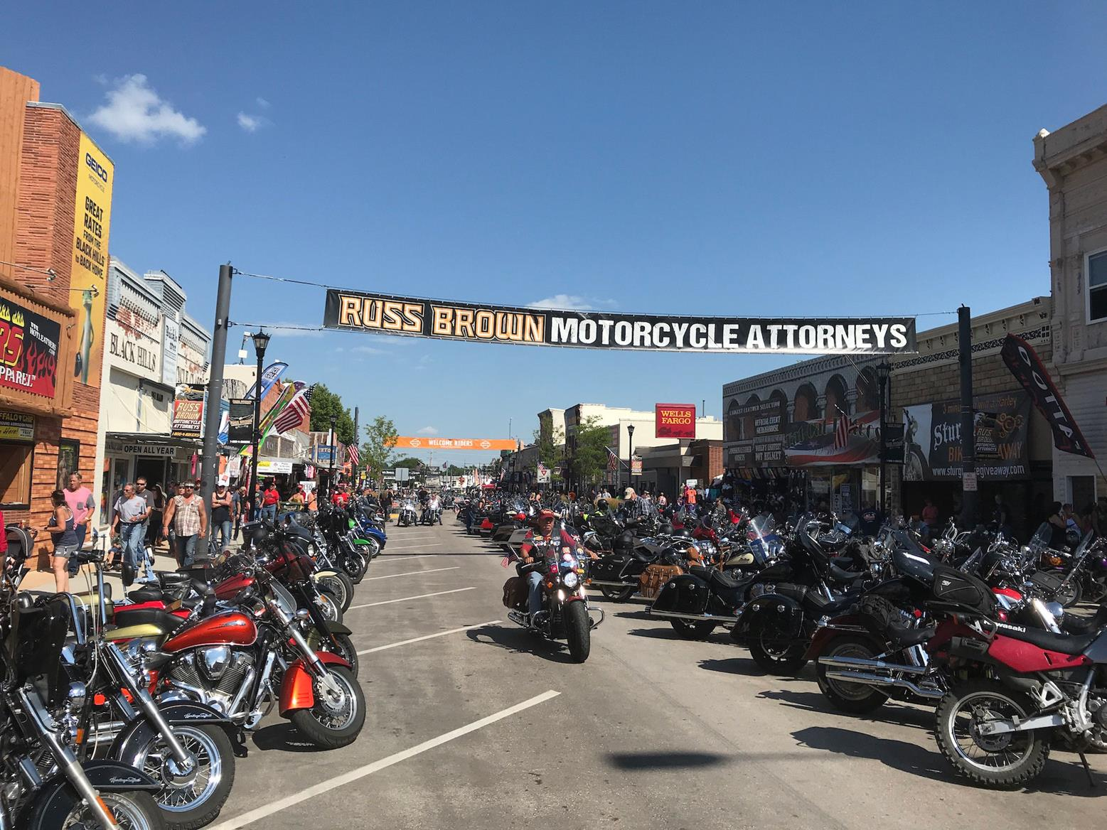 Sturgis Main Street is full of motorbikes for the annual Motorcycle Rally