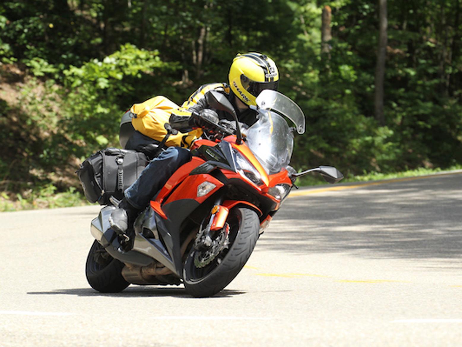 Simon on his Kawasaki Z1000SX tackling Moonshiner 28