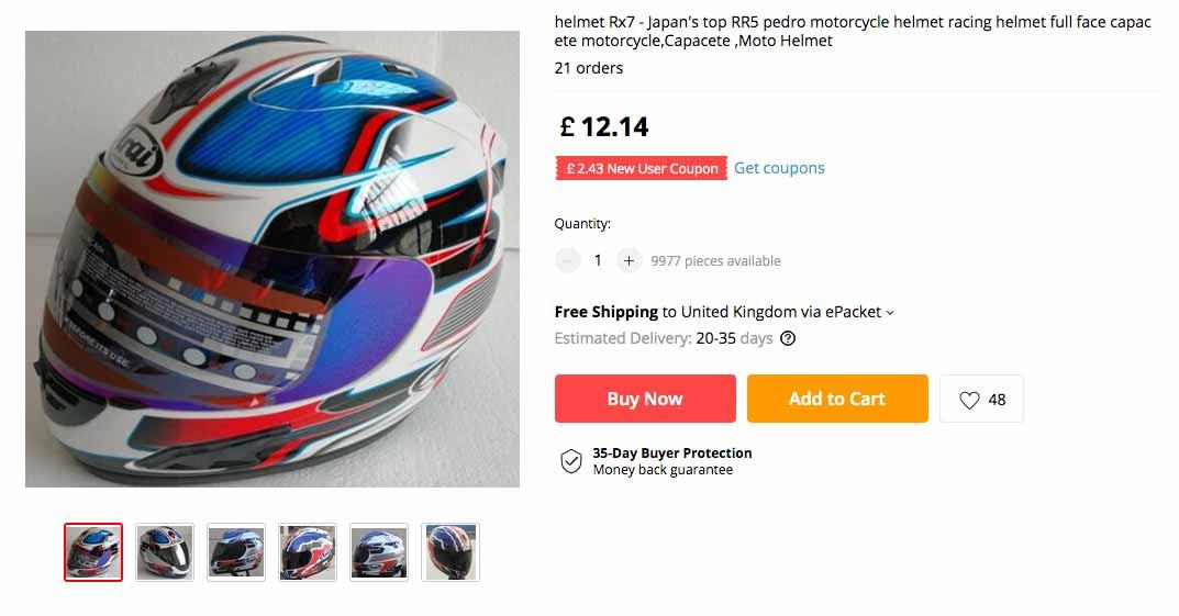 A fake helmet advertised for sale online