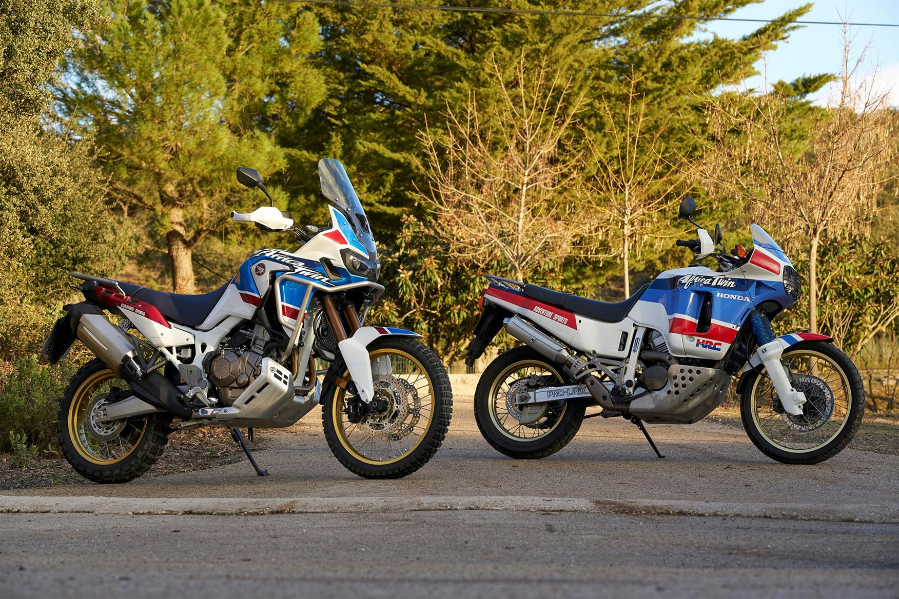 Two versions of the Honda Africa Twin