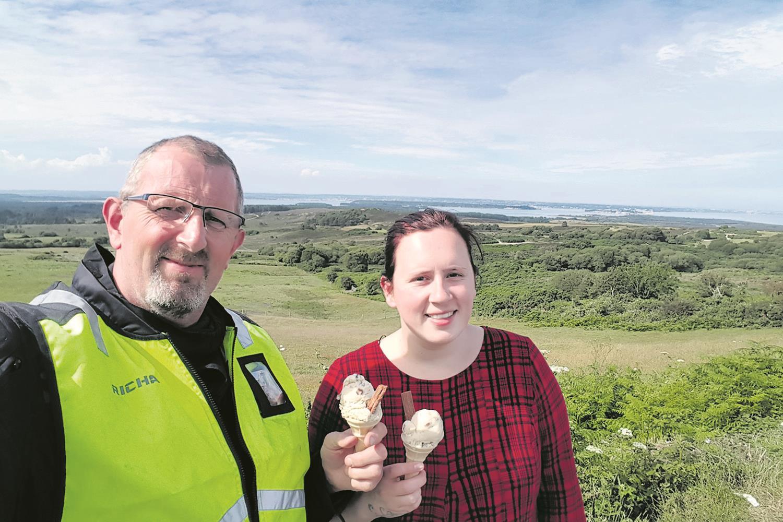 Martin and Clare Potts enjoy an ice-cream