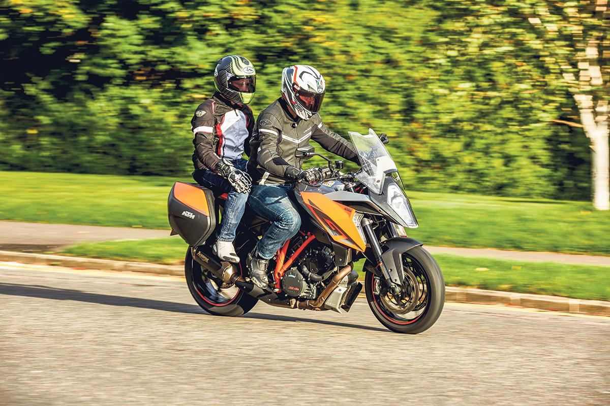 Brake carefully and consider using more rear when carrying a pillion passenger