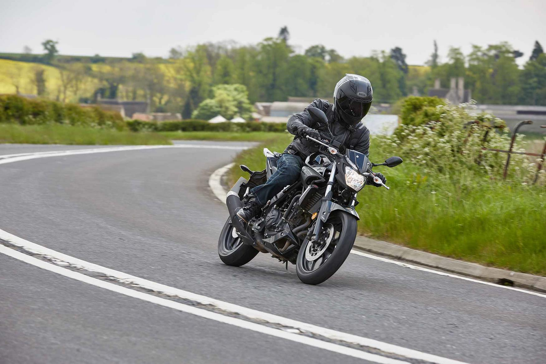 Cornering on a Yamaha MT-03