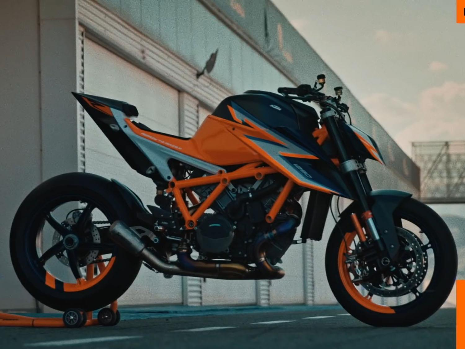 A side view of the KTM 1290 Super Duke R