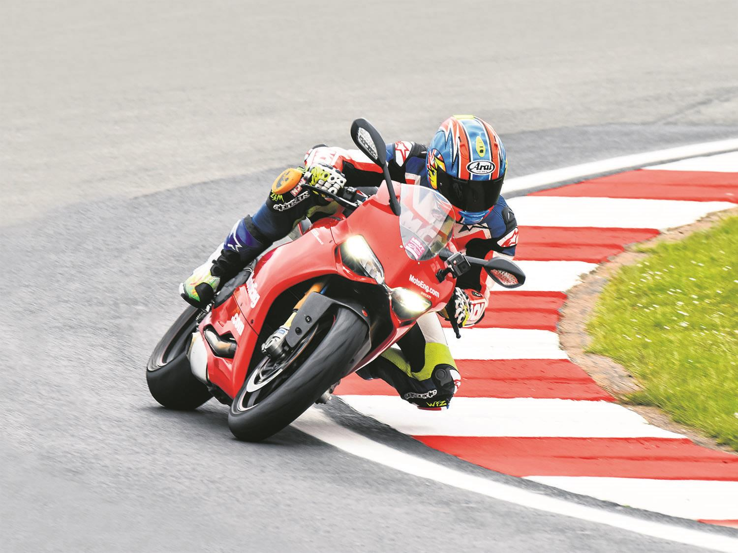 Cornering a motorbike on track
