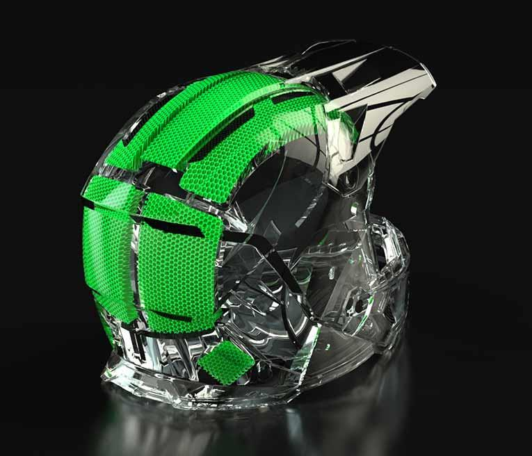 A detailed view of the Klim helmet lining