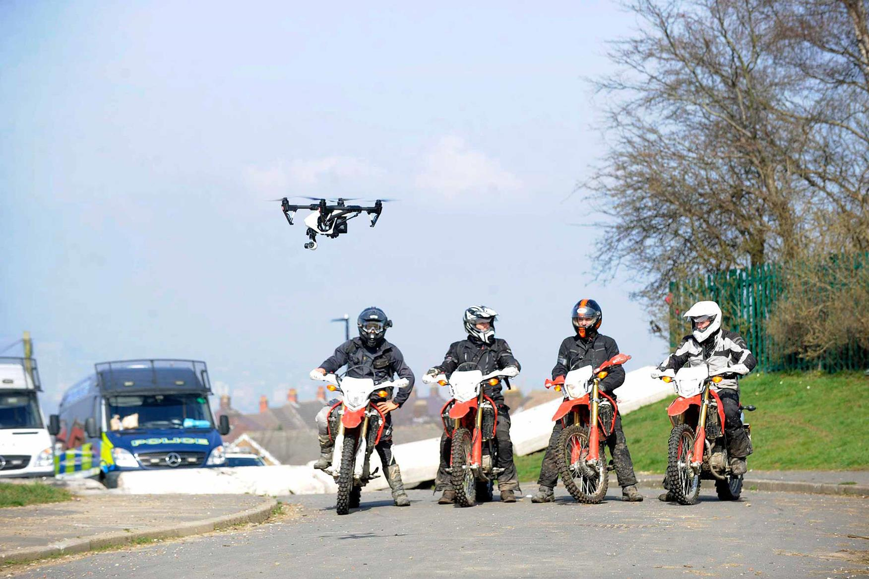 Off-road officers with a drone