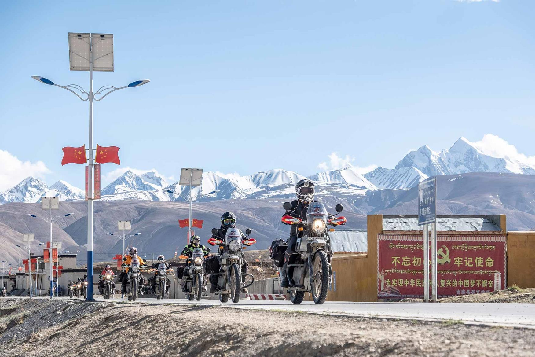 The ride takes place on Royal Enfield Himalayan