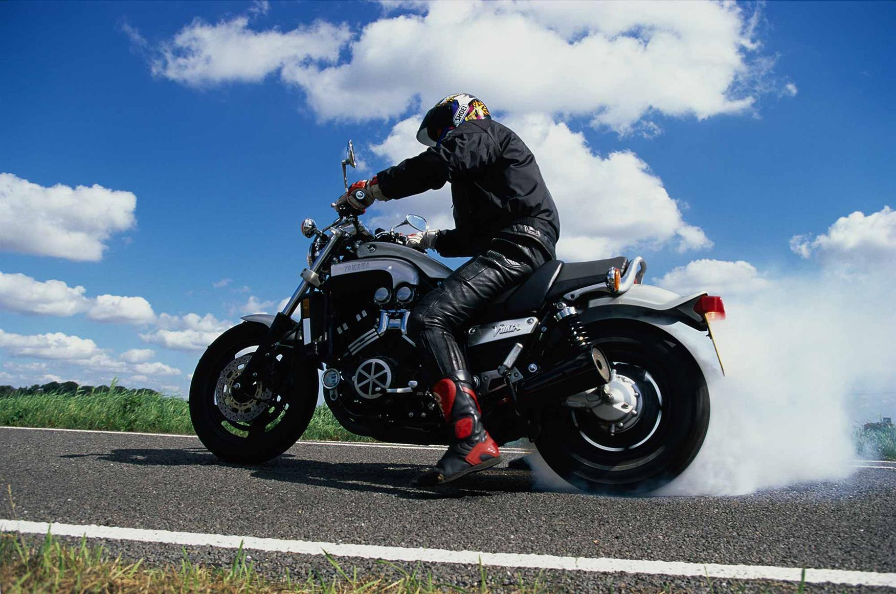 A burnout on the early Yamaha V-Max