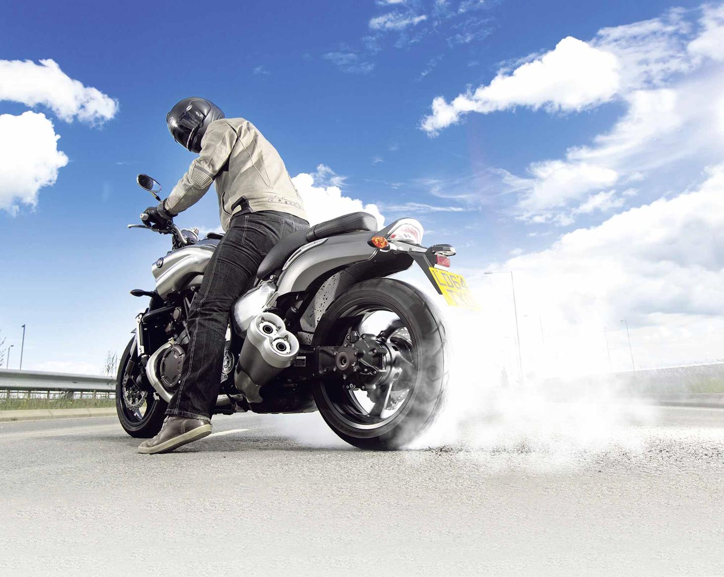 Doing a burnout on the Yamaha VMAX