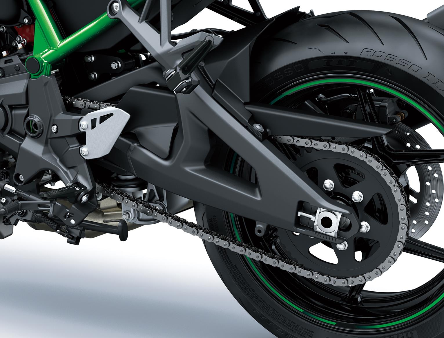 Kawasaki Z H2 swingarm and rear assembly