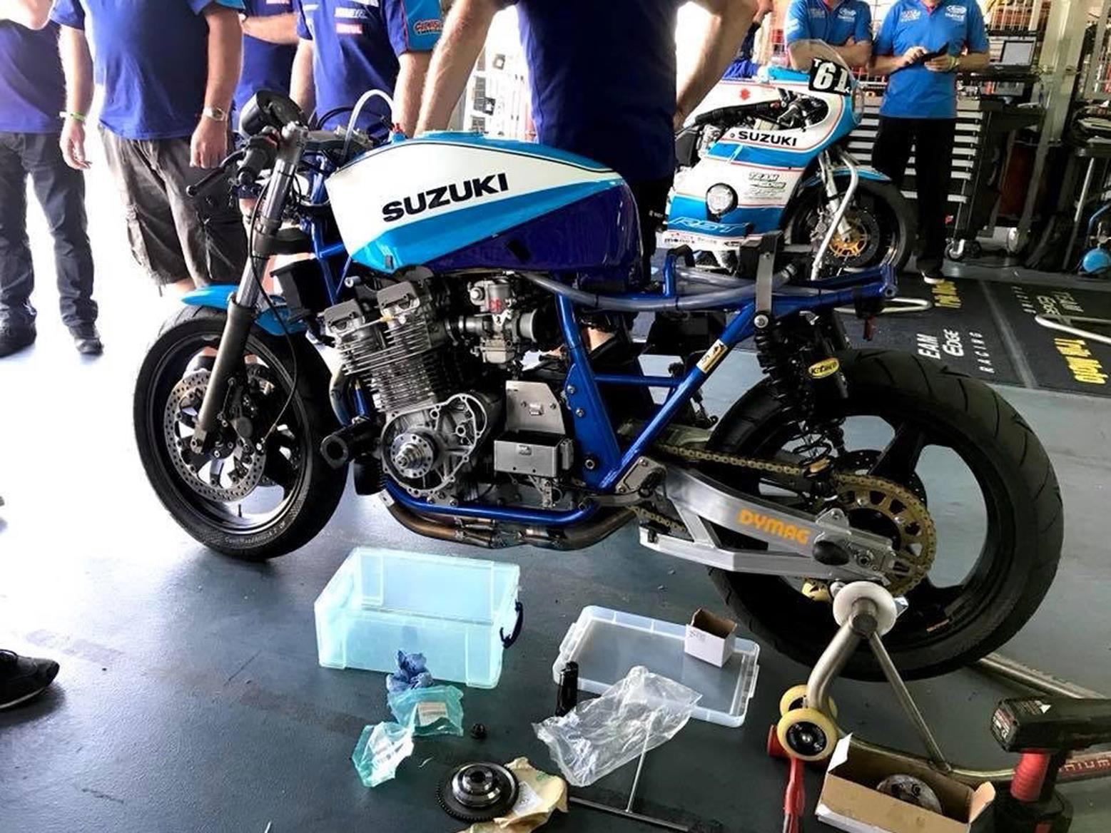 The Suzuki Katana on its paddock stand