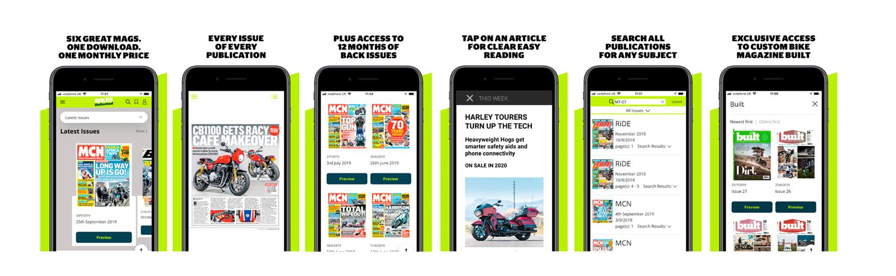 Get your favourite biking titles in the Bikes Unlimited app