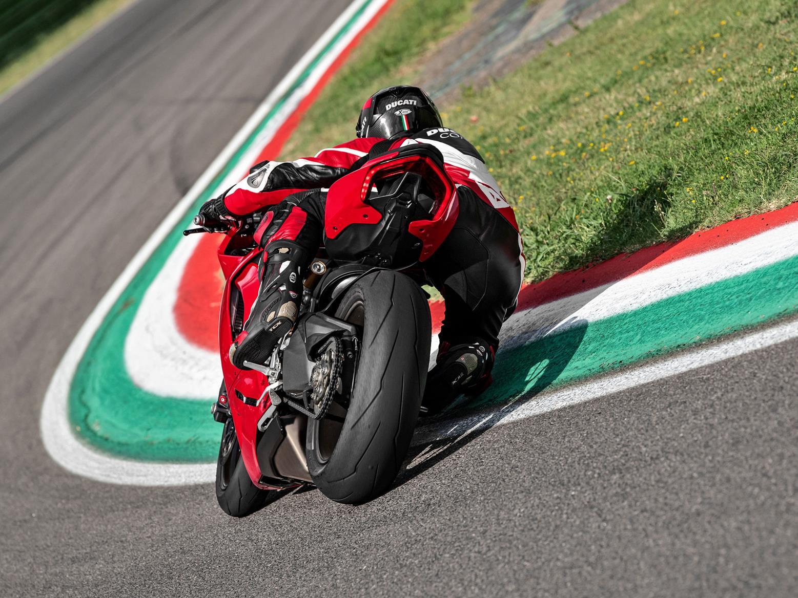Ducati Panigale V2 knee down cornering shot
